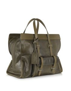 The Bridge Large Olive Green Leather Tote - FORZIERI