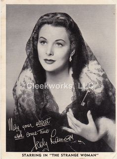 "Pre-Signed 3""x4"" glossy photo of Hedy Lamarr. Good to Fine condition with soft corners and a few creases. Hedy Lamarr; born Hedwig Eva Maria Kiesler (November 9, 1914 – January 19, 2000), was an Austr"