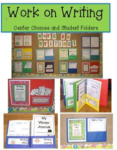 This pack has everything you need for an organized, effective, and motivating Work on Writing center/choice time for your students!  Perfect for the daily five!  I also like how she has used folders on the bulletin board- one side explains the center, the other side has the materials you need to complete that center.  Clever!