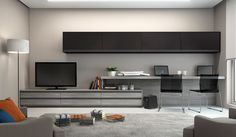 Home Office Integrado Desk In Living Room, Living Room Modern, Living Room Designs, Desk Wall Unit, Tv Feature Wall, Desk Tv Stand, Home Office Design, House Design, Kitchen Drawers