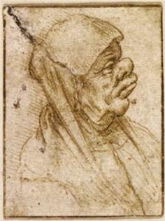 Caricature of an Old Woman  1485-90. Da Vinci. Pen and brown ink, 57 x 42 mm.
