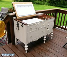 It's a patio cooler!Made from a buffet! - They only used of the original buffet, too. Furniture Projects, Furniture Makeover, Wood Projects, Diy Furniture, Furniture Online, Discount Furniture, Bedroom Furniture, Repurposed Furniture, Antique Furniture