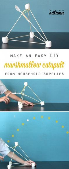 Genius! This simple marshmallow catapult can be made from common household supplies and is so easy to put together kids can do it on their own! Great science learning activity, and lots of fun.