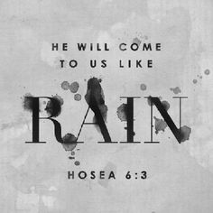 """Hosea 6:3 (ESV) Let us know; let us press on to know the Lord; His going out is sure as the dawn; He will come to us as the showers, as the spring rains that water the earth."""""""