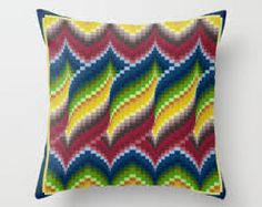 Bargello quilt style ceramic tile trivet for quilter blue Bargello Patterns, Bargello Needlepoint, Bargello Quilts, Needlepoint Pillows, Needlepoint Stitches, Needlework, Embroidery Patterns, Cross Stitch Patterns, Crochet Cushion Cover