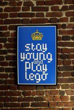 """Real Lego bricks poster """"Stay young and play lego"""". $200.00, via Etsy."""