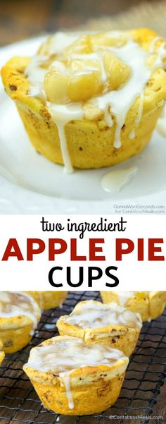 These Two Ingredient Apple Pie Cups transform just two, yes two, store-bought items into something share-worthy and sinfully scrumptious. They're bite-sized pastry perfection, and thankfully the jury's still out on exactly how many you can eat to equate roughly to an actual piece of pie. #ApplePie #PieFilling #Dessert #Snack #Breakfast #pastry #cinnamonrolls