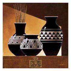 African House, African Room, African Pottery, African Art Paintings, Garden Wall Art, Tropical Art, Bottle Art, Glass Bottle, Bottles