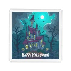 Halloween Haunted House Acrylic Tray - home gifts ideas decor special unique custom individual customized individualized
