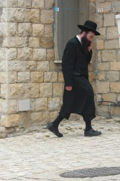 Hasidic Jew on a cell phone in Tzfat.