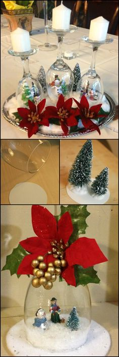 Here's a nice table centerpiece idea you can do for Christmas Eve dinner, and it's easy to make... wine glass snow globes!  This craft idea is definitely an inexpensive and fun project for anyone. And what's great is that it's not just a table centerpiece -- you can also use it simply as Christmas decor anywhere at home or even the office. :)  Want to make some for this season?  http://craft.ideas2live4.com/2015/12/08/wine-glass-snow-globes/
