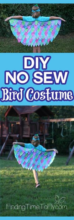 Step-by-step instructions to create the quickest DIY No Sew Bird Costume ever…