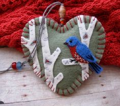 Bluebird on Birch Ornament  Ready To Ship by SandhraLee on Etsy, $19.50