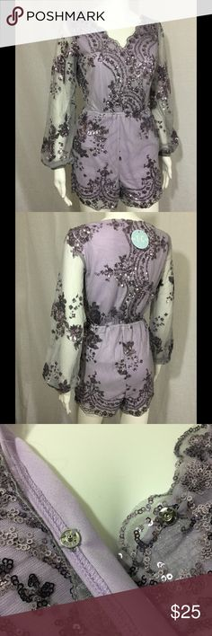 """Purple Sequin Romper Purple sequin romper. Long net sequin sleeves. Elastic wrists. V-neck. 1 snap closure on bust. Pocket on each side/hip. Elastic waistband. 2small belt loops (belt not included). 100% polyester. Lined.  Small: Bust 15""""   Waist 12"""" relaxed, 16"""" stretched Med:   Bust 17""""   Waist 13"""" relaxed, 18"""" stretched Large: Bust 19""""   Waist 14"""" relaxed, 19"""" stretched Pants Jumpsuits & Rompers"""