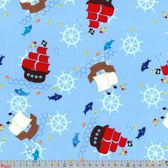 http://www.plushaddict.co.uk/new-arrivals/cotton-pirate-ships-on-blue.html Pirate Ships on Blue