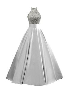 fa6717fca8e3 HEIMO Women's Sequined Keyhole Back Evening Party Gowns Beaded Formal Prom  Dresses Long H123 18W Silver