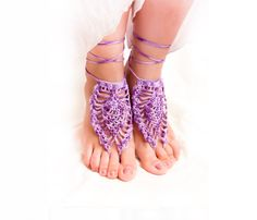Barefoot sandals, gypsy nude shoes,crochet lace foot jewelry, pastel, purple wedding, boho, yoga, anklet , bellydance, foot thongs. $11.20, via Etsy.