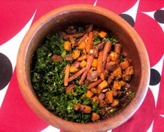 Kale salad with roasted root vegetables by Mojo Central