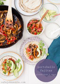 These Portobello Fajitas are a filling, meatless main dish that are both vegan and gluten-free. Seasoned with the new McCormick gluten-free taco seasoning mix. via www.cafejohnsonia.com #sponsored