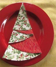 2014 Christmas napkin fold, Christmas tree napkins folding, 2014 Christmas table decor