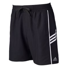Men's Adidas Colorblock Microfiber Volley Swim Trunks, Size: Medium, Black