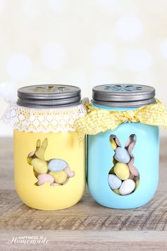 Give Mason jars a cute makeover with silhouette stickers and a coat of chalk paint. Fill them with candy, baking mix or DIY sugar scrub for a fun hostess gift.