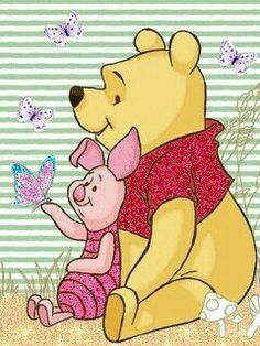 "Winnie the Pooh and Piglet Watching the Butterflies. ""Winnie the Pooh and Friends"""