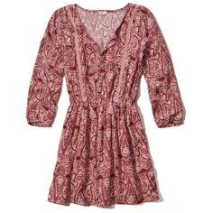 Hollister Printed Easy Waist Peasant Dress (£38) ❤ liked on Polyvore featuring dresses, pink pattern, peasant dress, red peasant dress, print dress, pink crepe dress and pattern dress