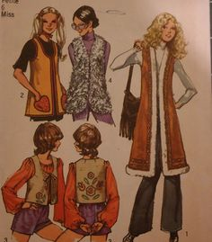 Vintage Simplicity 9618 Sewing Pattern -Classic tunic style vest with embroidery transfer- which is unused. Size 6 miss petite. Suitable for all materials- including faux fur and leathers.