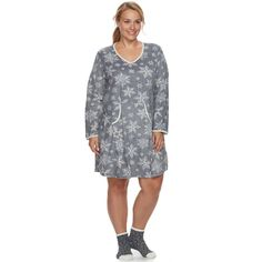 Plus Size Croft & Barrow® Pajamas: Velour Sleep Shirt & Socks PJ Set, Women's, Size: 3XL, Med Grey