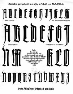 From one of the specimen books for the Klingspor Foundry's Deutsche Schrift. The typeface was designed by Rudolf Koch. Calligraphy Fonts Alphabet, Tattoo Fonts Alphabet, Typography Alphabet, Graffiti Alphabet, Typography Logo, Gothic Lettering, Chicano Lettering, Graffiti Lettering Fonts, Script Lettering