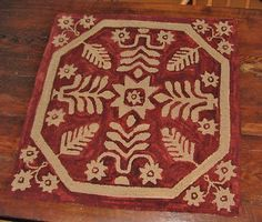 """Primitive Hooked Rug Pattern """"Antique Coverlet"""" 