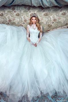 galia lahav bridal spring 2017 long sleeves high neck ball gown wedding dresses (corina) fv