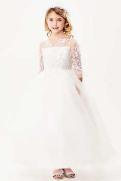 ffa4219abd7 Good Girl 3589 White 3 4 Sleeve Embroidered Lace Overlay Tulle Dress. Good  GirlFirst Communion ...