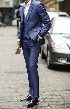 Nothing says gentleman like a blue suit. Three piece even better , and ted baker has the perfect shades of blue.