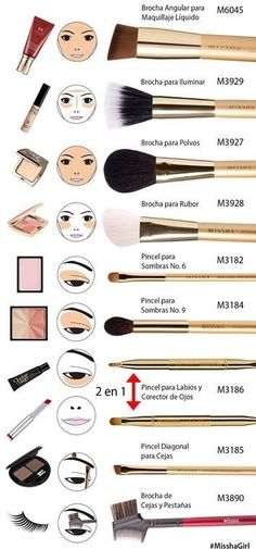 Maquilajje Techniken - Make-up Pinsel - - Hautpflege . - Maquilajje Techniken – Make-up Pinsel – – Hautpflege … – - Makeup Brush Uses, Makeup 101, Makeup Guide, Makeup Tools, Makeup Hacks, Makeup Ideas, Beauty Makeup, Eyeliner Hacks, Makeup Tutorials