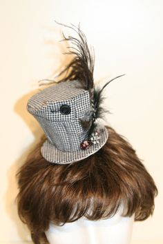 Hounds Tooth Fascinator Hat with Button by saholtartist1 on Etsy