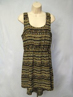 AMBIANCE APPAREL Black Brown Beige Tribal Print Dress Scoop Neck Size Large #AMBIANCEAPPAREL #PartyDress