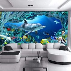 white and black corner sofa glass coffee table living room wall colors dolphin underwater life wallpaper