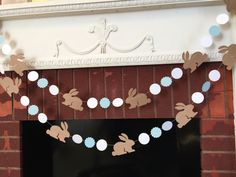 Bunny birthday Garland / Bunny baby shower Decorations / Blue Shabby Chic Bunny Nursery Decor - Some Bunny is One -Custom colors by anyoccasionbanners on Etsy https://www.etsy.com/au/listing/266229793/bunny-birthday-garland-bunny-baby-shower