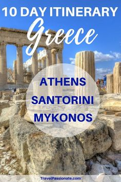 A popular 10 day Greece itinerary 10 days in Greece is perfect to visit the three hotspots in Greece: Athens, Santorini, and Mykonos. Find out about the best things to do and the best things to see in Greece in 10 days. I What to see in one week in Greece Mykonos Greece, Athens Greece, Crete Greece, Greece Vacation, Greece Travel, Trips To Greece, Thessaloniki, Cool Places To Visit, Places To Travel