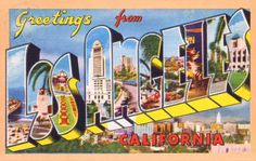 Greetings from Los Angeles, California Vintage Large Letter Postcard