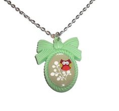 Owl Necklace Kawaii Green Cameo Necklace by KitschBitchJewellery