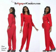 red 90s Vintage jumpsuit pants 3/4 sleeve tie by revampdcouture, $25.00