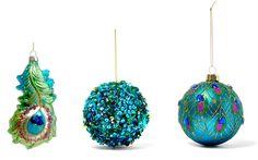 Peacock Embroidery Designs, Christmas Stuff, Christmas Ornaments, Peacock Christmas, Seasonal Celebration, Peacocks, Tins, Feathers, Liberty