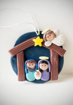 Made-to-Order Clay Nativity Set Nativity Ornaments, Nativity Crafts, Christmas Nativity, Diy Christmas Ornaments, Christmas Art, Christmas Crafts, Christmas Decorations, Polymer Clay Ornaments, Polymer Clay Projects