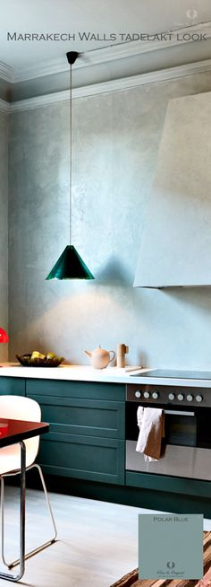Oke, who would like a kitchen? This is great. Marrakech Walls colour Polar Blue with the finish as tadelakt.