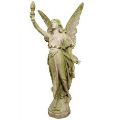 Large Angel statue with porch in her right hand. This piece comes as a left and right set. Made of durable fiberglass with several finish options available.
