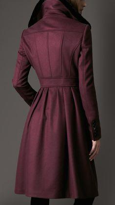 Burberry Fur Collar Full Skirt Coat in Purple (bright bilberry)   Lyst