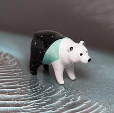 Cosmic Polar Bear Figurine OOAK Handmade Polymer Clay Animal Totem